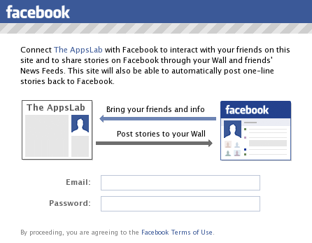 The amazing Facebook Connect explanation window.