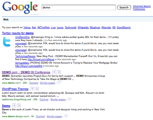 Realtime Twitter Search Results on Google via Greasemonkey script