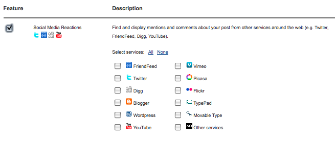 Settings for Social Media Reactions