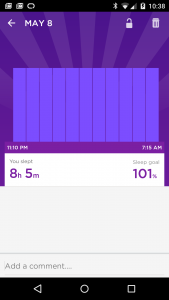 Sleep data from a low battery.