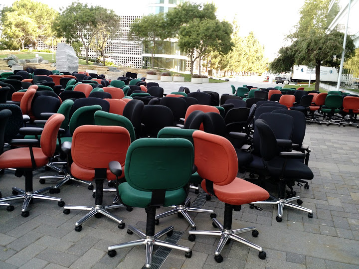 Here's a random picture of chairs congregating outside Building 200