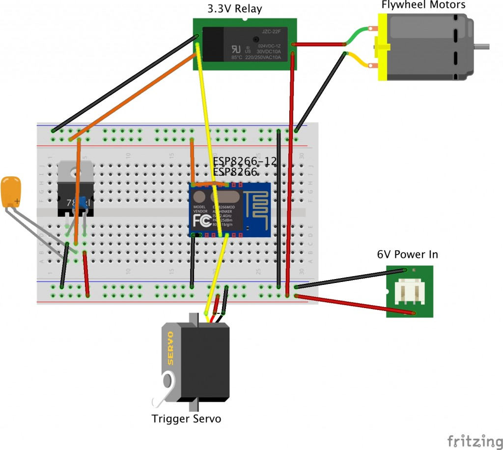 Breadboard layout of IoT Nerf Gun