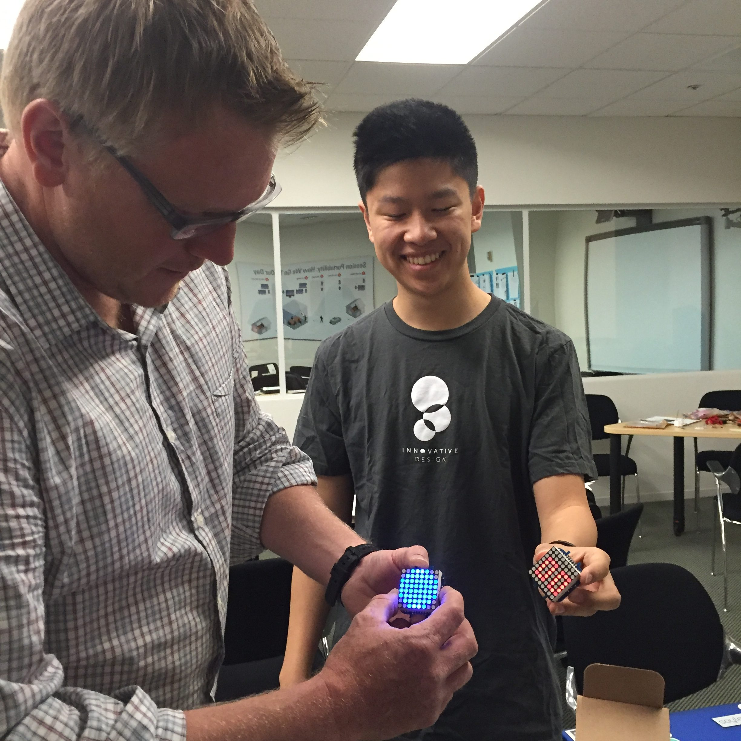 Julian Orr (@orr_ux) and intern David Xie flash off those word-face smart watches