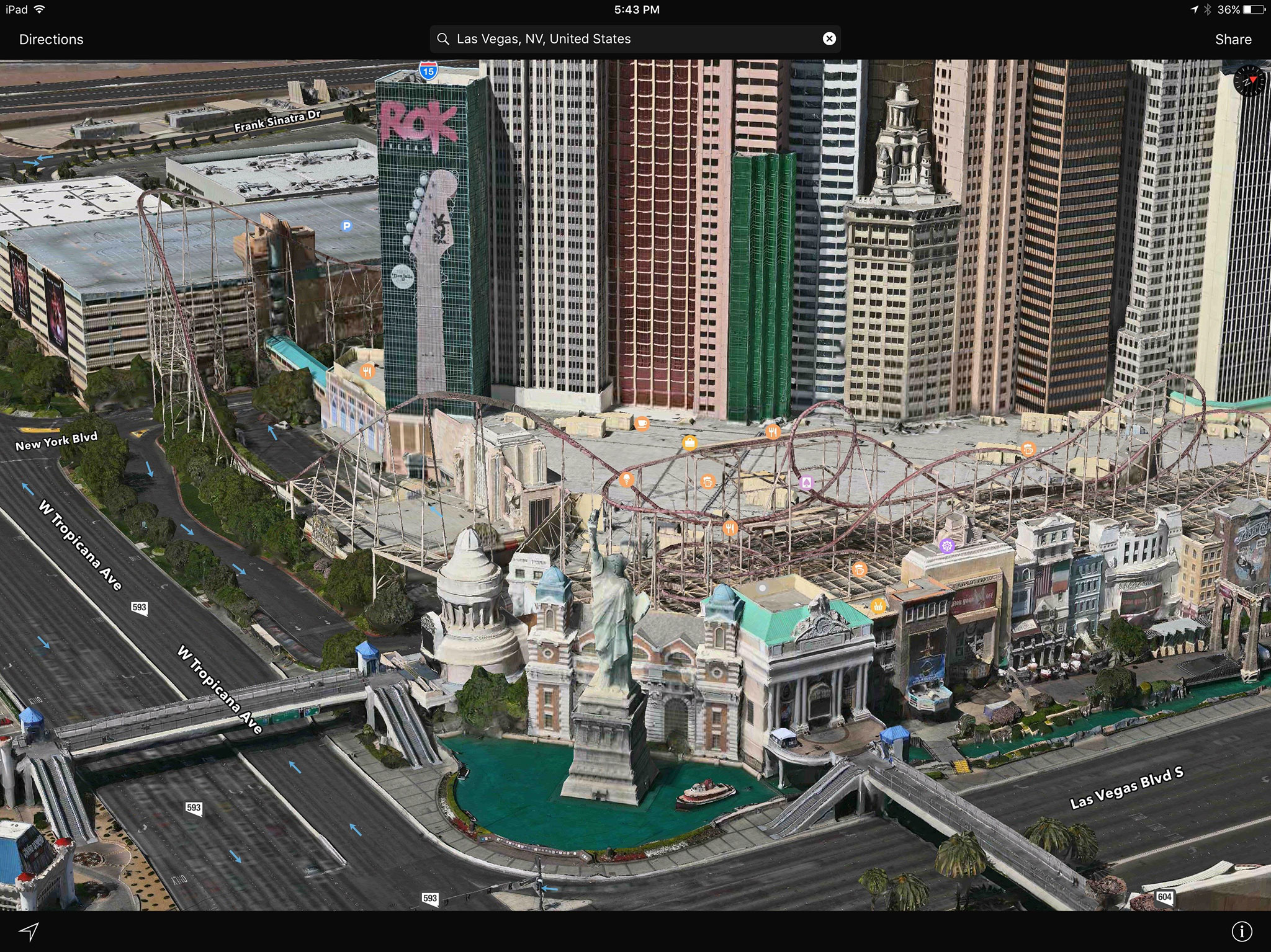 Flying over Vegas using Apple Maps